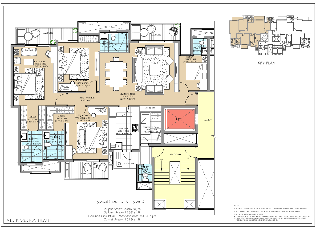 3 BHK floor plan ats kingston